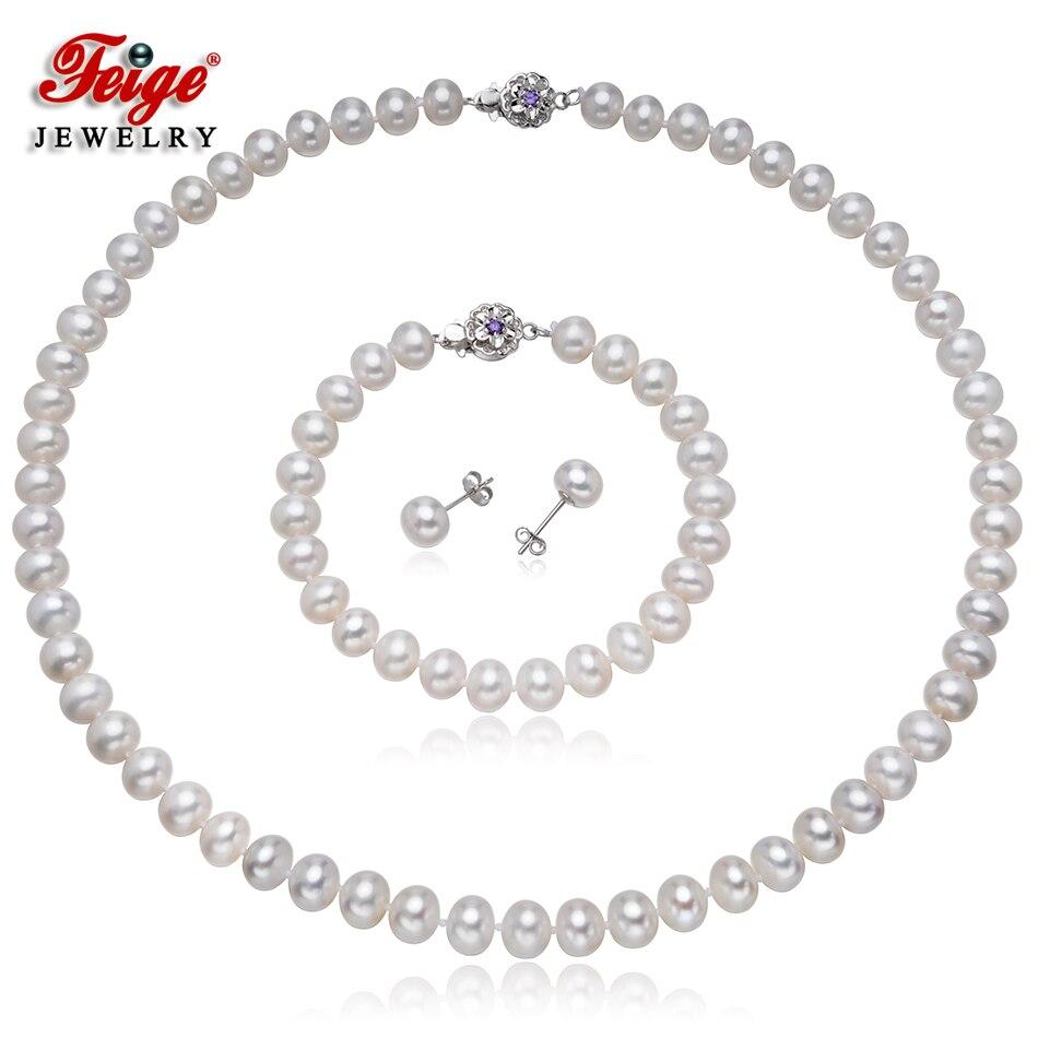 Classique perle d'eau douce ensemble de bijoux pour les femmes cadeaux de mariage 8-9MM blanc perle 925 argent boucle d'oreille ensemble bijoux de mariée FEIGE