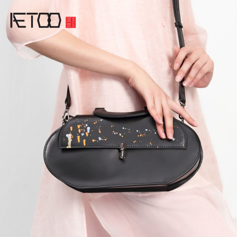 AETOO Original handmade bovine dermis ink ink printing retro portable Messenger bag shoulder bag bovine metacestodes