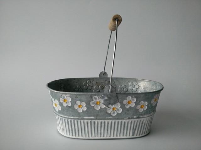 6kpl / erä metalli istutuskannu puutarha soikea terävä kohokuvioitu rauta ruukut kukkaruukku roikkuu istutin puukahvalla vintage kukka
