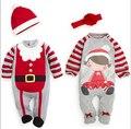 2015 Nova Natal Do Bebê romper, outono inverno conjuntos de roupas de bebê da menina do menino roupas de bebê recém-nascido de natal ano novo homem macacão