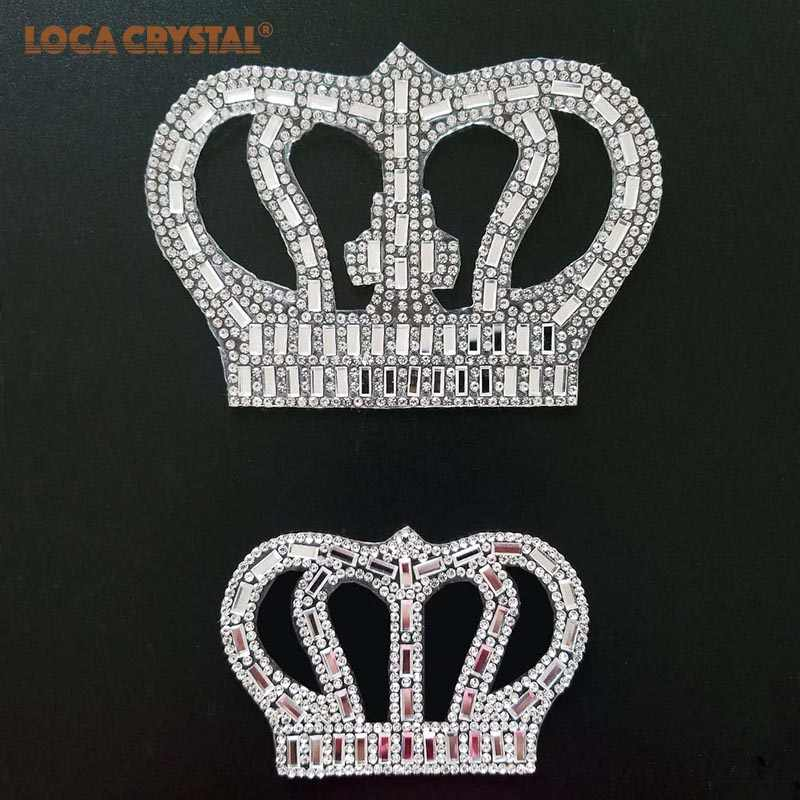 ... 2 pcs bag White clear Crown Hot fix rhinestone patches Pearl Applique  Women Clothes Bride ... 41e91e904952