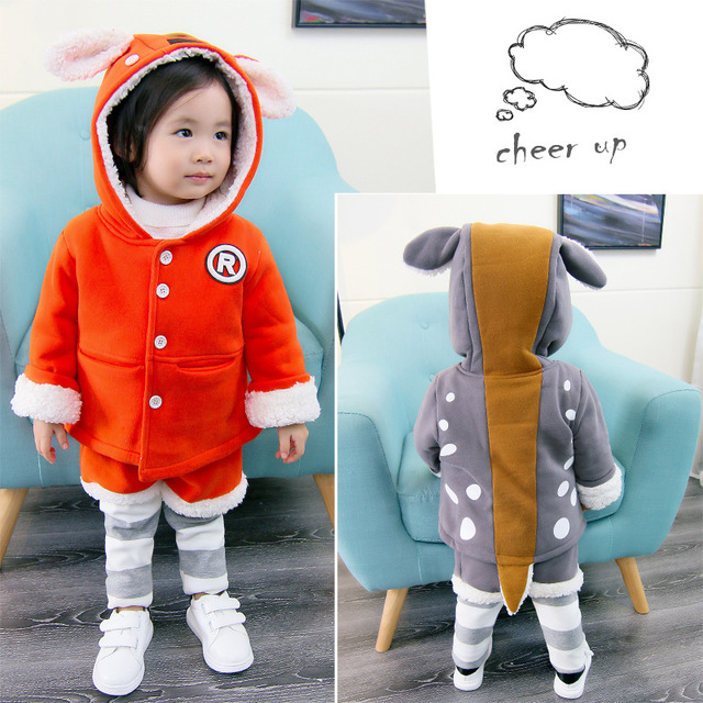 7d50e91c82e1 2018 Winter Lovely Clothes Set Baby Girl Thick Tops Kids Autumn ...