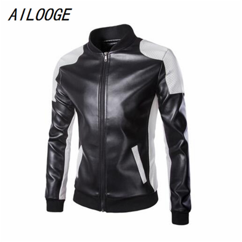 AILOOGE New Leather Jacket Men Leather,Mandarin Collar,Contrast Color,Coat Male,Leather Jacket Men,Mens Leather Jackets And Coat
