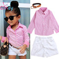 2017 Girls Summer Clothes Suit shirt + shorts + belt 3pcs / set pink striped shirt fashion suit Kids suit Free shipping
