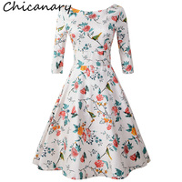 Chicanary Floral Birds Print Women Back V Swing Vintage Dress 3 4 Sleeve Party Cocktail Retro