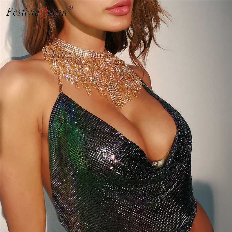 c271032fb4da1 Festival Queen women s metal sequin crop tops female adjustable sleeveless  backless halter clubwear sexy v-
