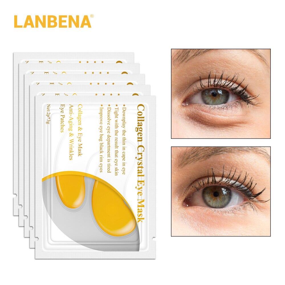 LANBENA 24K Gold Eye Mask Collagen Eye Patches Dark Circle Puffiness Eye Bag Anti-Aging Wrinkle Firming Skin Care