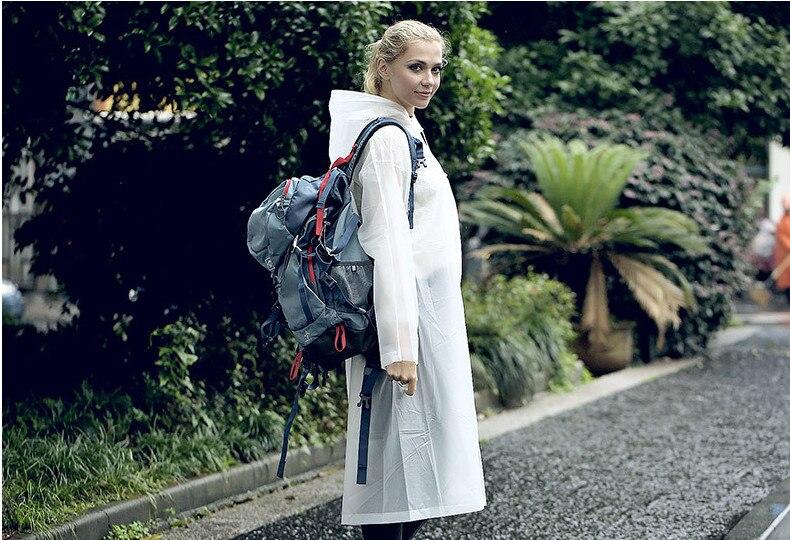 15.Fashion EVA Women Raincoat Thickened Waterproof Rain Coat Women Clear Transparent Camping Waterproof Rainwear Suit Rain jacket_