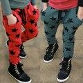 2016 del otoño del resorte de la ropa de los niños muchacha del muchacho pantalones causal estrellas de encaje de algodón delgado harem pantalones para niños niños deportes largo pantalón