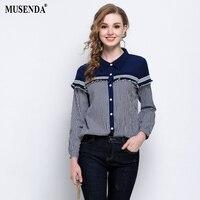 MUSENDA Plus Size Women Blue Plaid Patchwork Turn Down Collar Ribbing Ruffles Shirt 2018 Spring Female