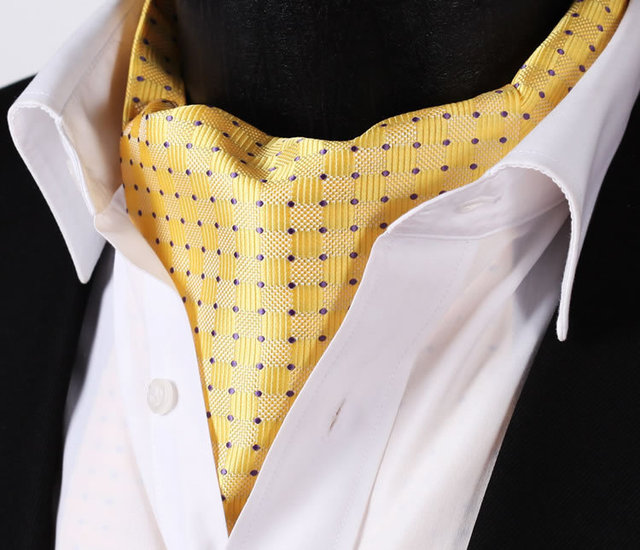 Yellow Purple Polka Dot Silk Cravat