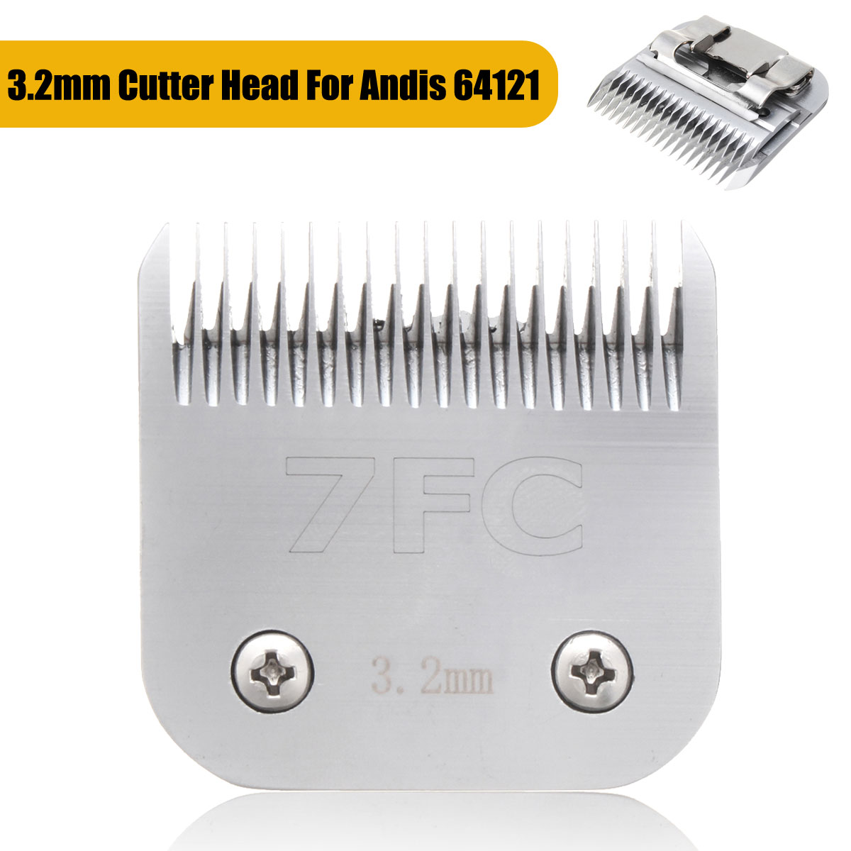 Pet Clipper 3.2mm #7FC Detachable Dog Clipper Blade Head Grooming For Andis 64121 Carbon Tool Steel image