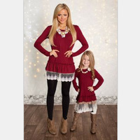 2017 Family Matching Mother Daughter Dresses Clothes Solid Red Mom And Daughter Lace Dress Kids Parent