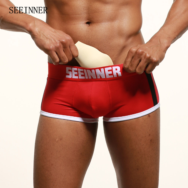 95134e4a1ba4d1 2-PACK Seeinner Men Boxer Slip Man Gay Mens Underwear Padded Boxers Cotton  Panties Branded Pull Male Panties Underpants S741-2