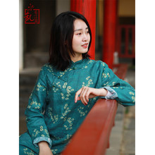 LZJN Long Sleeve Chinese Dress 2019 Spring Women Long Tunic Dresses Vintage Cheongsam Ethnic Qipao Linen Robe Femme 7685(China)