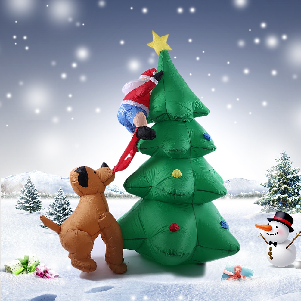 1.8m/70in Decorations Tall Inflatable Christmas Tree Santa Claus Dog Decor X'mas Outdoor Decorations Ornaments AC100-240V