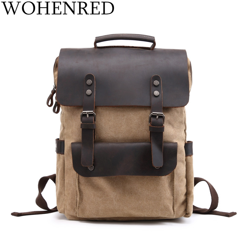 Vintage Backpacks For Men Canvas Backpack Large Capacity Travel Bags Luggage Crazy Horse Leather Laptop Backpack School Bookbag large capacity backpack laptop luggage travel school bags unisex men women canvas backpacks high quality casual rucksack purse