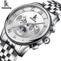 Relojes para hombre IK coloring  relojes mecánicos automáticos de lujo de acero inoxidable para hombre  reloj de negocios con fecha Día  fase lunar watch brand men watch menwatch men brand -
