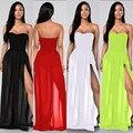 5 colores S-XL de la gasa de la playa del verano negro blanco sin tirantes de las mujeres la raja del lado largo maxi dress sexy club wear vestidos XD559