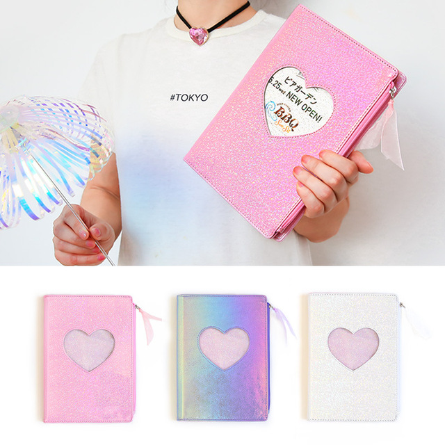 New 2020 Cute Cartoon PU Leather Notebook Laser Heart Diary Personal Diary Week Planner Organizer Note book School Stationery