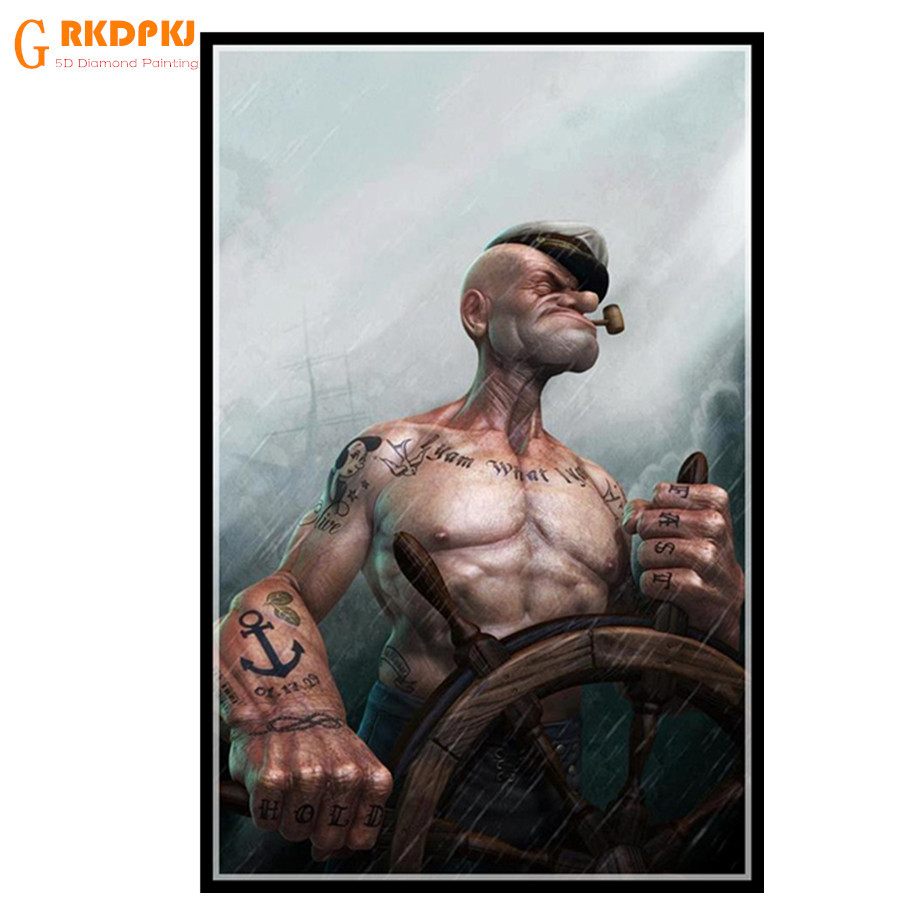GRKDPKJ 5d diy diamond painting full square diamond embroidery mosaic pictures of rhinestones home decor Popeye Artistic drill