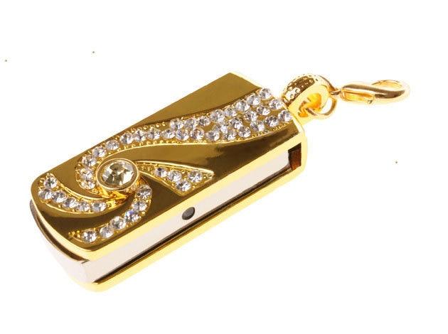 Metal Crystal Gold Stainless steel rotary Key Chain USB 2.0 Flash Drive 8GB 16GB 32GB Memory Stick Thumb Disk / Car / Pen Drives