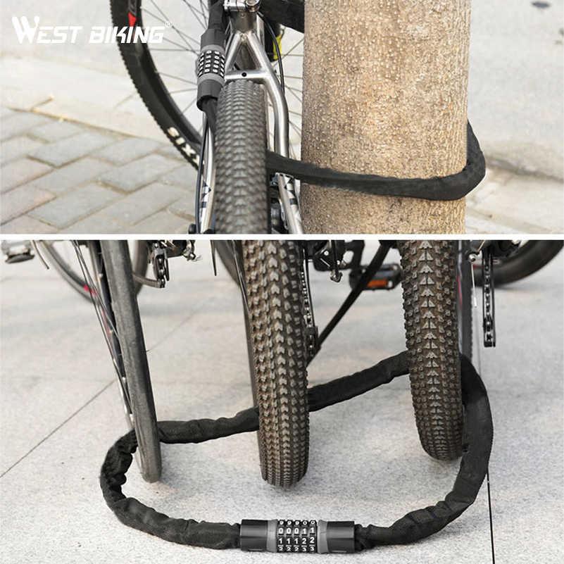 West Bersepeda Panjang Keselamatan Rantai Kunci untuk Sepeda Anti-Pencurian Baja Password Kode Motor Lock Bersepeda Sepeda Listrik Accoessories