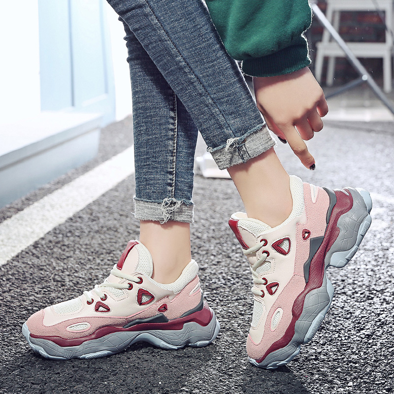 92ede05a0cb4 Size 35 40 2019 New Casual Women s Sneakers PU   Mesh Lace Up 6CM Platform  Shoes Woman For Jeans Cool Girls Comfortable Footwear-in Women s Vulcanize  Shoes ...