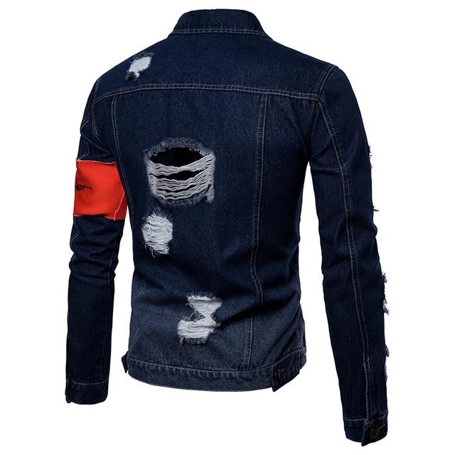 2018 autumn Men's Casual jeans jackets Holes decoration Outwear Cotton cloth solid color Men fashion Jacket Coat large size 3XL 1