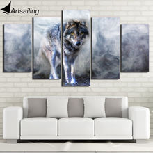 Hd Печатный 5 шт Холст Искусство Волк картина белый дым фотосессия