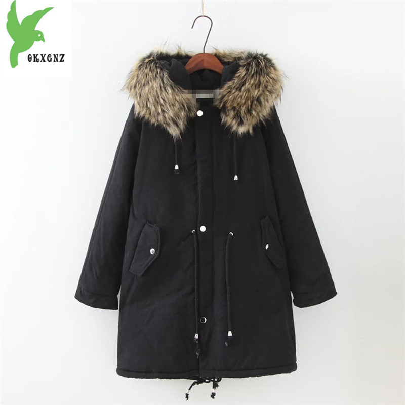 Plus Size Winter Women Cotton Coat New Fashion Hooded fur Collar Flocking Thicker Jackets Loose Fat MM Warm Outerwear OKXGNZ 800 new winter women cotton jackets solid color hooded long coat plus size fur collar thicker warm slim casual outerwear okxgnz a795
