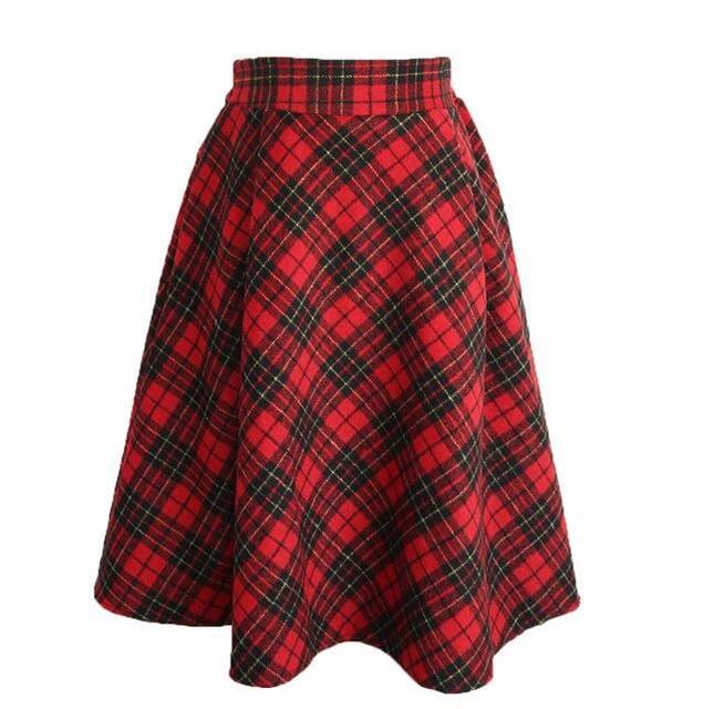 2016 Fashion Women Vintage Woolen Autumn Winter Casual Warm High Waist Midi Flared  Pleated Skirt
