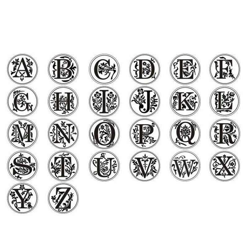 Ретро дерево классический 24 буквы Алфавит начальный воск печать штамп пост декоративные винтажные DIY ручка латунная головка свадебные приглашения