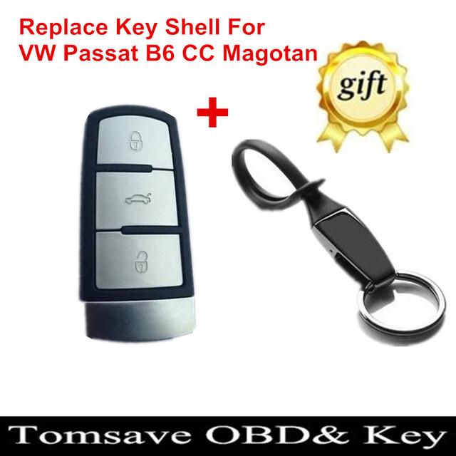 O Envio gratuito de Tamanho Original 3 Botão do controle remoto Chave Shell Chave caso Para VW Passat B6 CC Magotan Tem Chave Livre anel