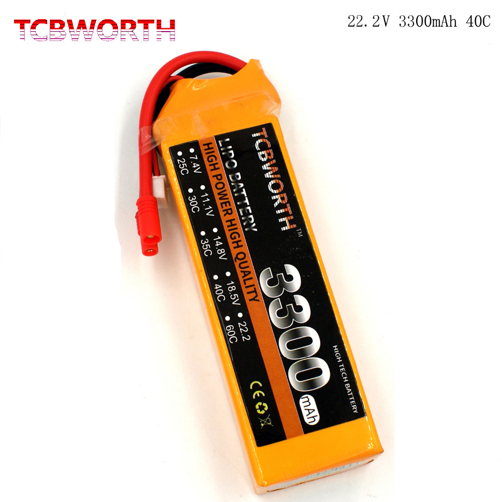 TCBWORTH LiPo Battery 6S 22.2V 3300mAh 40C Max 80C RC Helicopter For RC Airplane Quadrotor Drone Car boat Truck Li-ion Battery tcbworth 11 1v 3300mah 60c 120c 3s rc lipo battery for rc airplane helicopter quadrotor drone car boat truck li ion battery