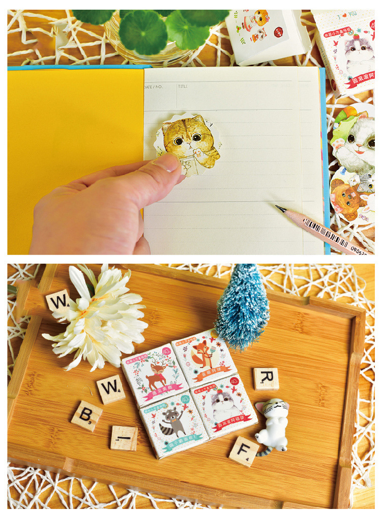 40 PCS New Cute Fat Cat 40 Sheets Mini Paper Sticker Decoration DIY Ablum Diary Scrapbooking Sealing Sticker Kawaii Stationery