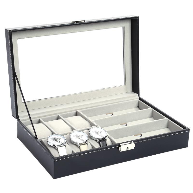 Multi-functional Watch Display Storage Box Sunglass Holder Organizer PU Leather Storage Box Jewelry Display Container