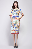 2016 Spring Summer Retro Printing Letter Sequins Slim Dress Woman High Waist A Line Dress