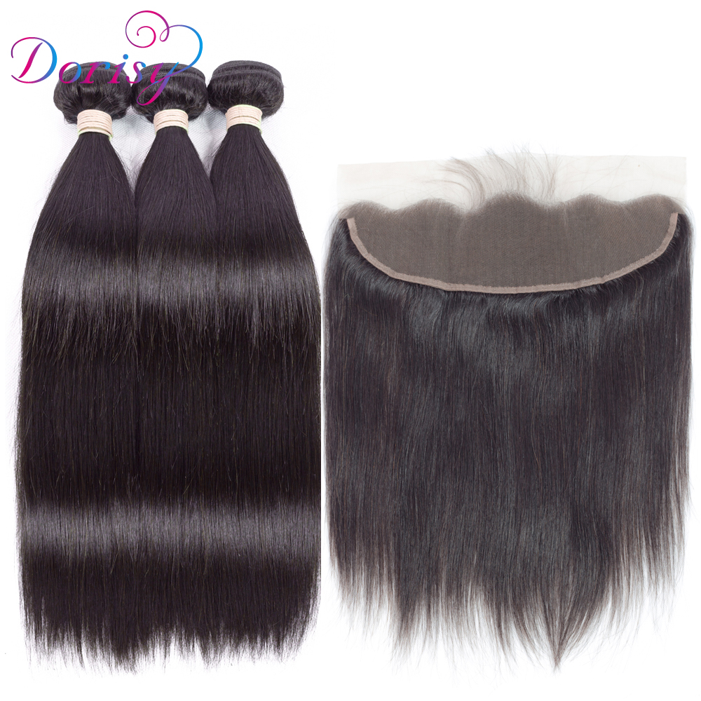 Dorisy Pre-Colored Lace Frontal Closure With Bundles Straight Hair Weave Human Hair 3 Bundles With Closure Lace Frontal