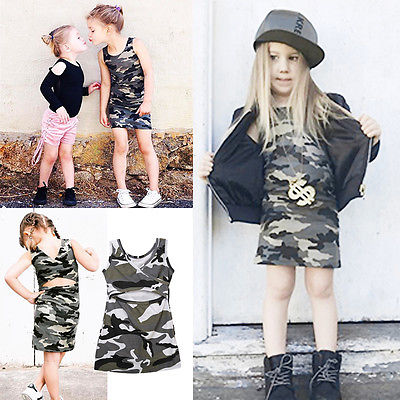 Toddler Kids Girl Summer Baby Sundress Party Casual Camouflage Backless Dresses