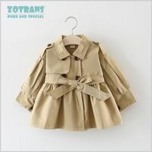 Пальто для новорожденных девочек крутые куртки Осенняя ветровка для малышей, Весенняя верхняя одежда для детей Детское пальто с поясом для детей от 0 до 36 месяцев
