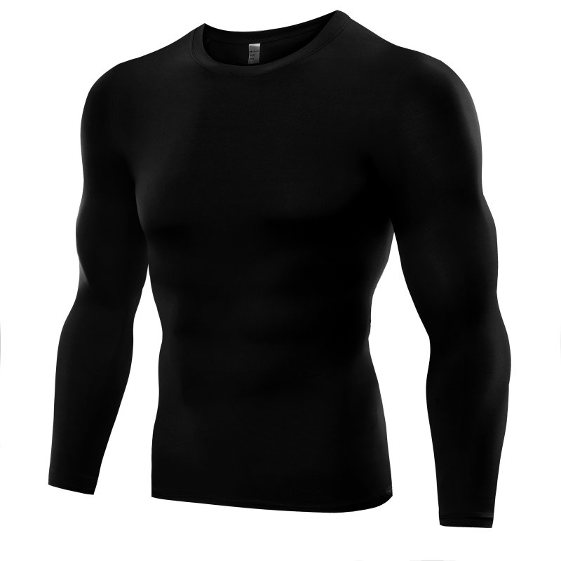 Long Sleeve Fitness Work Out Men Compression   T     Shirt   Base Layer Tight Tops Slim   T  -  shirt   Tees Plus Size