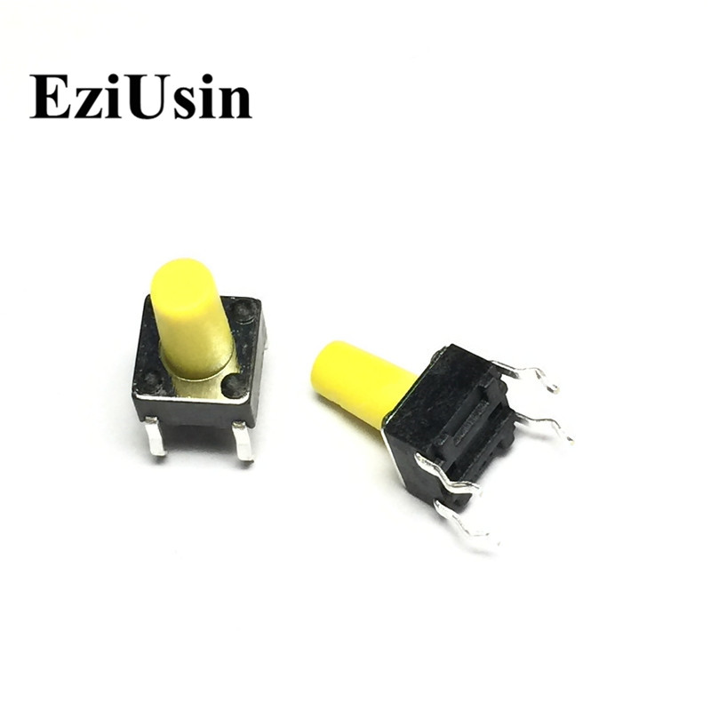 EziUsin 6*6*10 Yellow PCB Keyboard Light Touch Micro Switch DIP Mini Touch Button Keys Interrupteur For Maker DIY