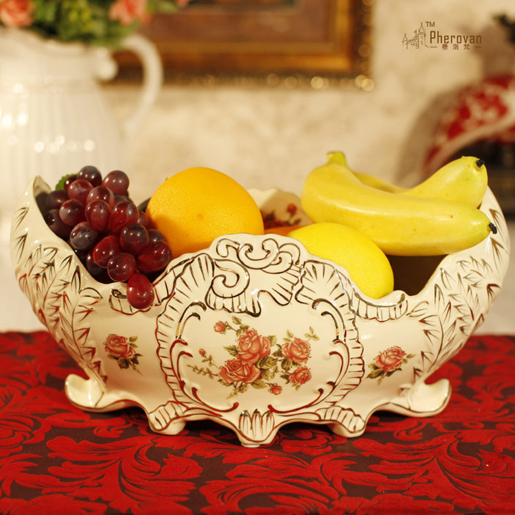 / Rose dental porcelain / ceramic decorative ornaments Home Furnishing luxury fruit bowl / gilt high grade fruit basket