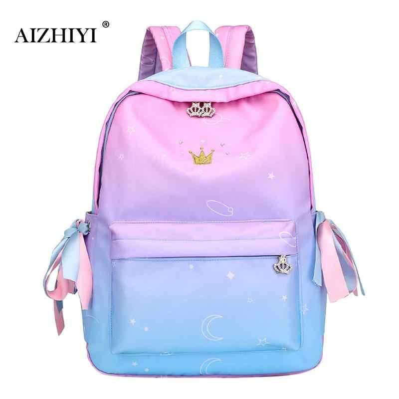 Bolso escolar con Cremallera de nailon de Color arcoíris de gran capacidad para niñas, bolso de hombro para mujer, Mochila de viaje elegante