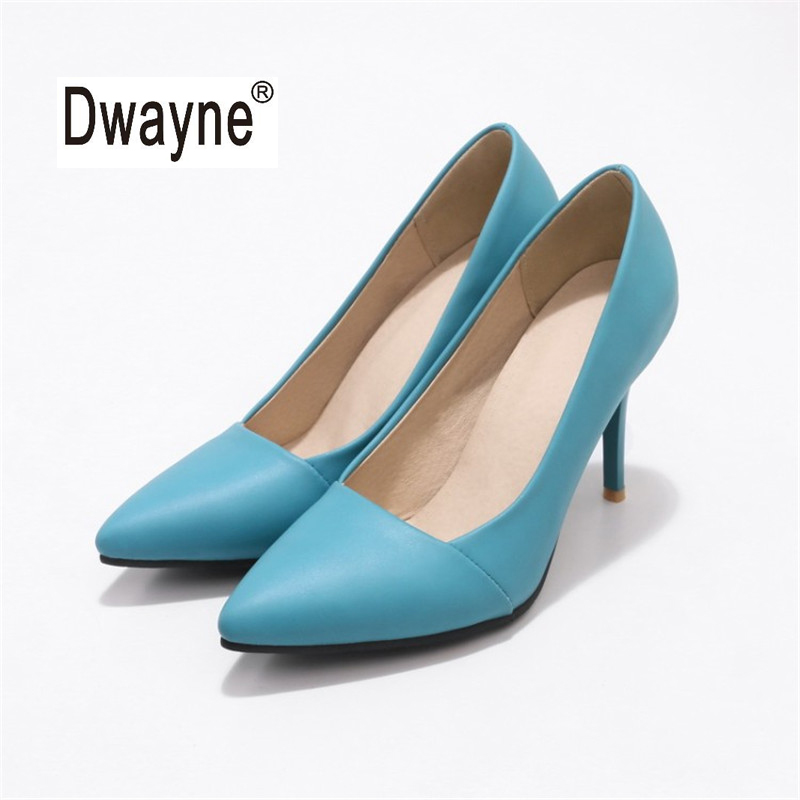 Big Size Women's Shoe 8cm High Heels MF3 Good PU Pumps Party Shoes For Women Wedding Shoes