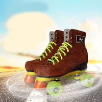 New Arrival Adults' Indoor Outdoor Dual Line Two Lane Quad Wheels Roller Skates with Lace up Flock Boot