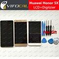 Para huawei honor 5x display lcd + touch screen + ferramentas fhd 100% nova substituição digitador assembléia para huawei honor 5x telefone