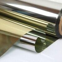 20 X100ft 0 5X30m Solar Mirror Window Film One Way Tint Privacy Sticker Solar Reflective Gold