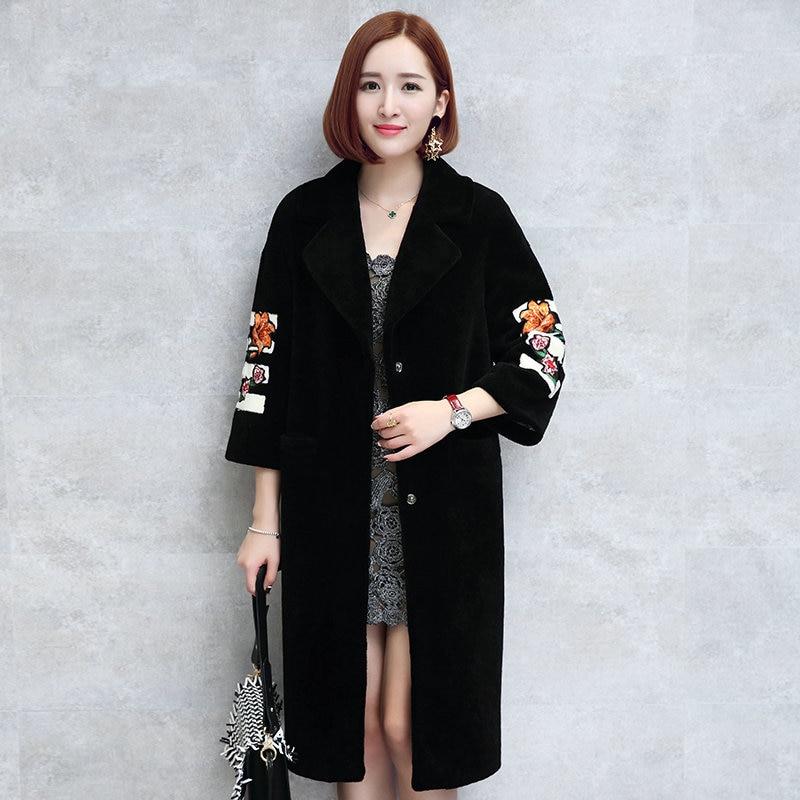 Mouton Coat female jacket wool womens fur coat Womens winter jackets real furs womens fur coats winter big size